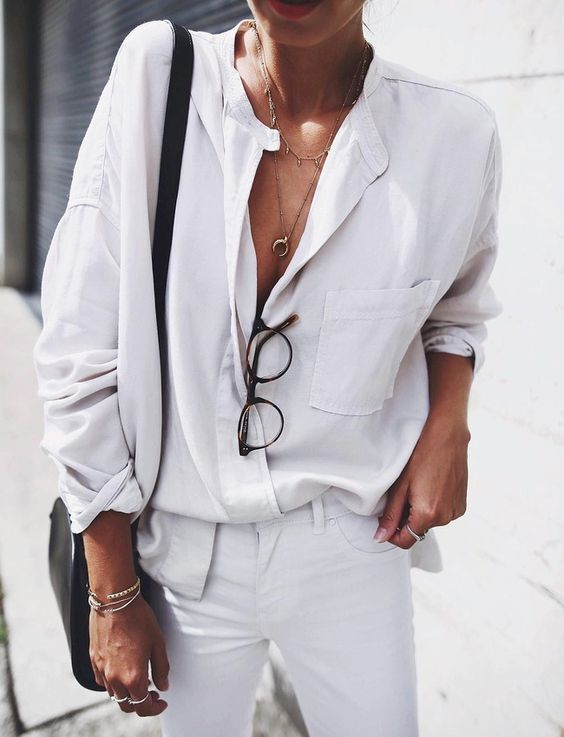 total white look white shirt